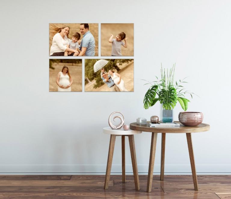 Familienfotos an der Wand von Fotoshooting für Familie und Kinder, lebendige Kinderfotos machen glücklich!
